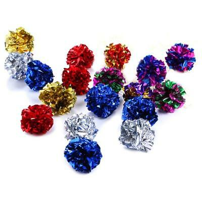 Color random  Multicolor Mylar Crinkle Ball Cat Toys Ring Paper Cat Toy Interact