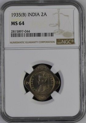 India KGV 1935 B 2 Annas NGC MS64