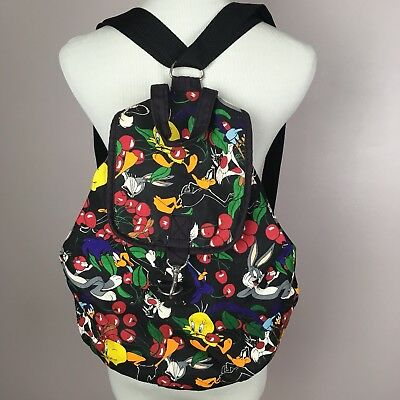 """Official Looney Tunes Product Backpack 16""""Black multicolor Sylvester Tweety Bugs"""
