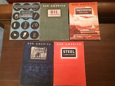 5 Coca-Cola Our America booklets w cards Steel Glass Oil Motion Pictures Transpo
