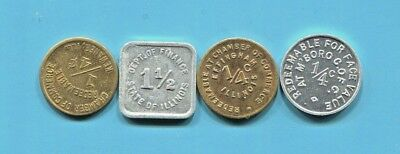 Illinois - Four Beautiful Historical Sales Tokens, The Kewanee Token Included