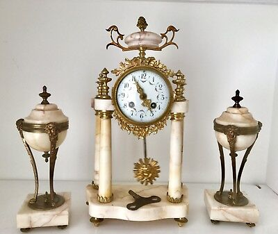 Antique French Louis XVI, A.D Mougin Marble/Bronze Portico Clock With Garniture