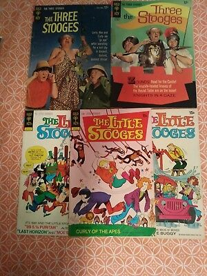 Three Stooges 5Issue Silver And Bronze Age Comic Lot Unrestored Classics Ow Pgs!
