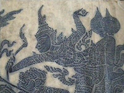 Vintage Thai Temple Rubbing Of Chariot Riders, Large Scale, Unframed