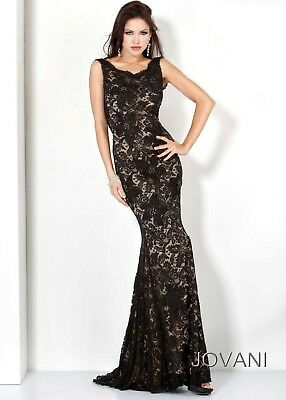 Jovani Lace  long black  gown  Size 10 style 71397