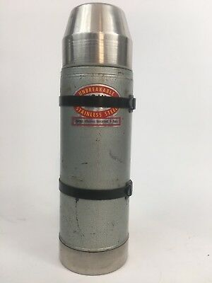 Vintage Uno-Vac 1 Quart Thermos Stainless Steel Unbreakable Vacuum Bottle