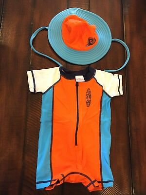 Hanna Andersson Baby Boy Bathing Suit And Hat Set Size 60 (3-6month)