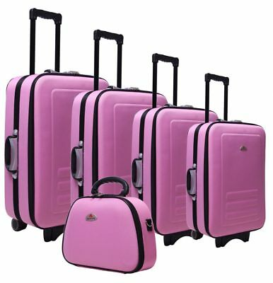 Delegate 5 Suitcase Set Luggage Trolley Cabin Travel Wheelie Bag TSA Lock Pink