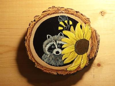 Hand Painted Raccoon wood slice Ornament Spring flowers Easter Tulip bumble bee