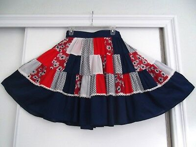 Country Creations Square Dance Skirt~Blue/white Gingham/eyelet -