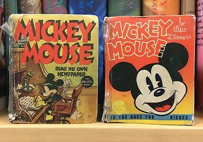 2 Walt Disney Mickey Mouse Big Little Books lot Whitman Publishing 1937-38