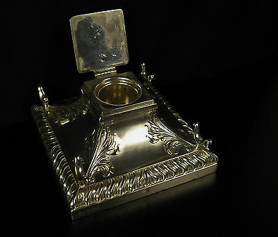 British Inkwell from Sheffield Hawksworth Eyre Silver 1899  Encrier Ag 925