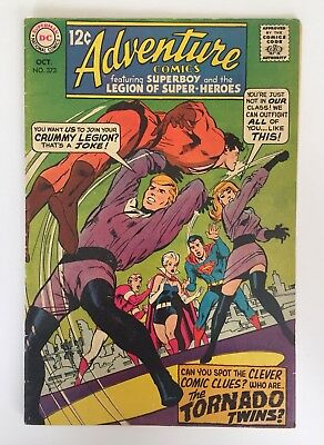 "Adventure Comics #373 (DC 1968) Superboy~Legion ""1st Tornado Twins"" VG+"