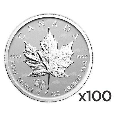Lot of 100 x 1 oz 2016 Canadian Maple Leaf Grizzly Privy Reverse Proof Silver Co