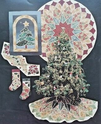 Bear Paw Christmas Traditions in Stained Glass Quilt Pattern Stocking Tree Skirt