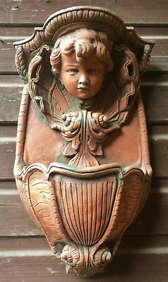 "Cherub wall plaque decorative stone planter garden ornament 44cm/17.5""H"