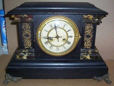 Antique Waterbury Mantle Clock Claw Feet NUMA New Haven Clock co.1898 Shelf