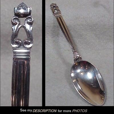 "1915-1927 Georg Jensen Danish Sterling Silver 8"" Serving Spoon Acorn Pattern"