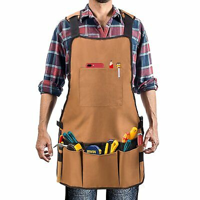 Work Apron Waxed Canvas 16 Pockets Adjustable Straps Waterproof Workshop Tool
