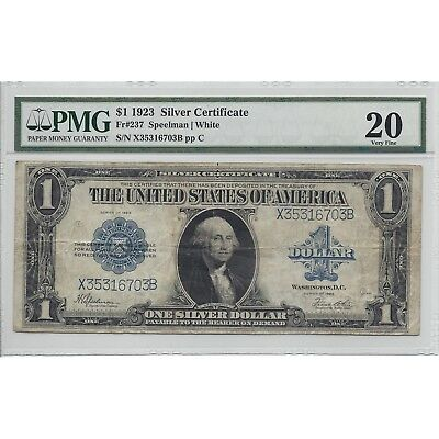 Series of 1923 $1 Dollar Silver Certificate Fr237 PMG 20 - Free Shipping USA