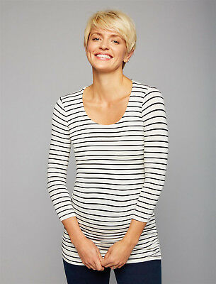 A Pea in the Pod Maternity Black White Stripe Ruched 3/4 Sleeve Top XS