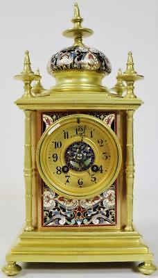 Exceptional Antique 19thc French 8 Day Bronze & Champleve Enamel Mantel Clock