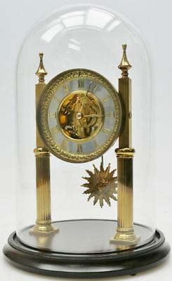 Superb Antique 8 Day French Brass Portico Skeleton Mantel Clock Under Glass Dome
