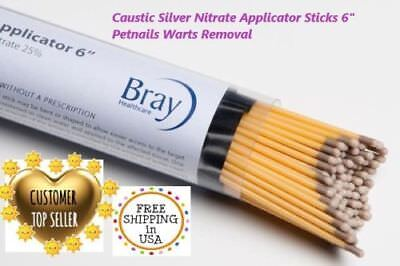"12ps Caustic Silver Nitrate Applicator Sticks 6"" Petnails Warts Removal"