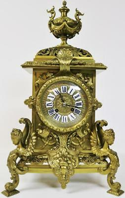 Superb Rare Large Antique French 8 Day Pierced Embossed Cast Bronze Mantel Clock