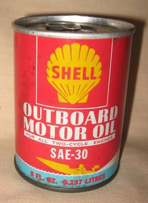 Vintage Shell Outboard Motor Oil SAE-30 Unopened Can, 8 Oz.