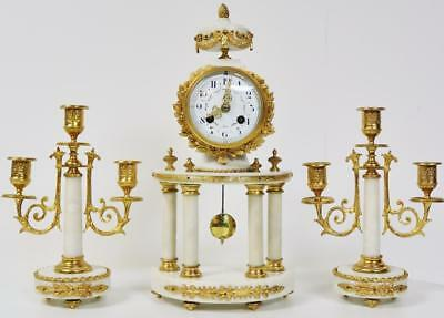 Antique French White Marble & Bronze 4 Pillar Bow Front Portico Mantel Clock Set