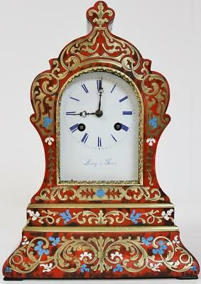 Antique 19thc French 8 Day Red Shell & Brass Inlaid Boulle Officers Mantel Clock