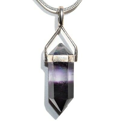 """CHARGED Sterling Silver Rainbow Fluorite Point Perfect Pendant™ + 20"""" Chain"""
