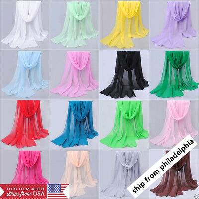 NEW Fashion Women Long Soft Wrap Lady Shawl Chiffon Silk like Scarf Scarves