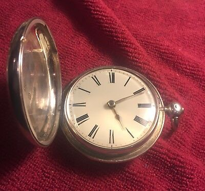 Antique Verge Fusee 1800's Sterling Double Hunter W. Hutchinson Pocket Watch