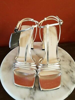 db8c91a498 New Zara Silver Metallic Strappy Party Wide High Heels Sandals Shoes Us 8