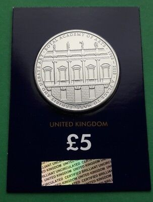 2018 The Royal Academy of Arts 250 years UK Five Pound  £5 BU Coin Certified