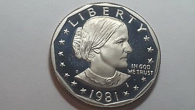 1981-S Proof Deep Cameo Type 2 Clear 'S' Susan B. Anthony Dollar