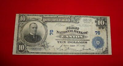 Large $10 1902 1St National Bank Of Canton National Currency
