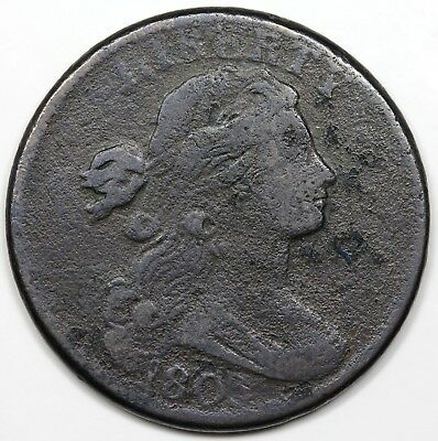 1803 Draped Bust Large Cent, Small Date & Fraction, reverse cud, F detail