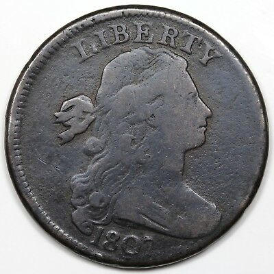 1807 Draped Bust Large Cent, Large Fraction, rotated dies, VG-F detail