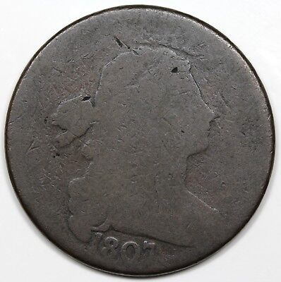 1807 Draped Bust Large Cent, Large Fraction, rotated dies, AG