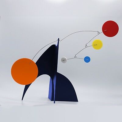 Midcentury Chic Art Sculpture by Atomic Mobiles Navy Blue Modern Kinetic Stabile