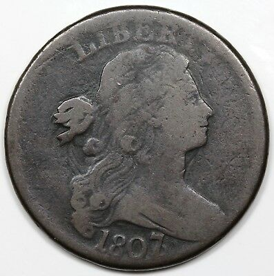 1807/6 Draped Bust Large Cent, large overdate, VG detail