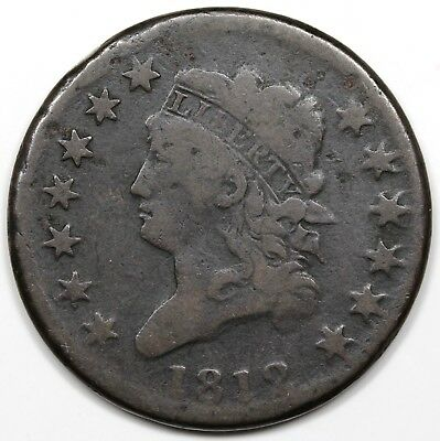 1812 Classic Head Large Cent, Small Date, VG+ detail