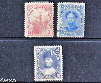 19th CENTURY 3 x HAWAII STAMPS  POSTMARKED & HINGED