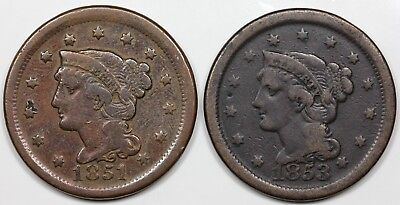 Pair of Braided Hair Large Cent, 1851, 1853, average circulated