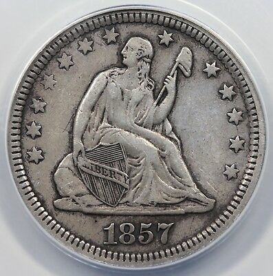 1857 Seated Liberty Quarter, ANACS XF45 details