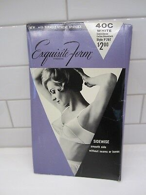 Vintage Bullet Bra in package size 40C  1950's-60's Embroidered Broadcloth