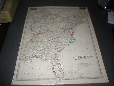 c 1860 United States of America (Eastern States) Antique Map, Johnston, Colour